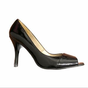Black Patent Heel Open-toe Dress Formal Staple 9